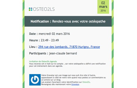 Mail de relance via Osteo2ls