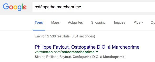 Résultat d'une recherche Google