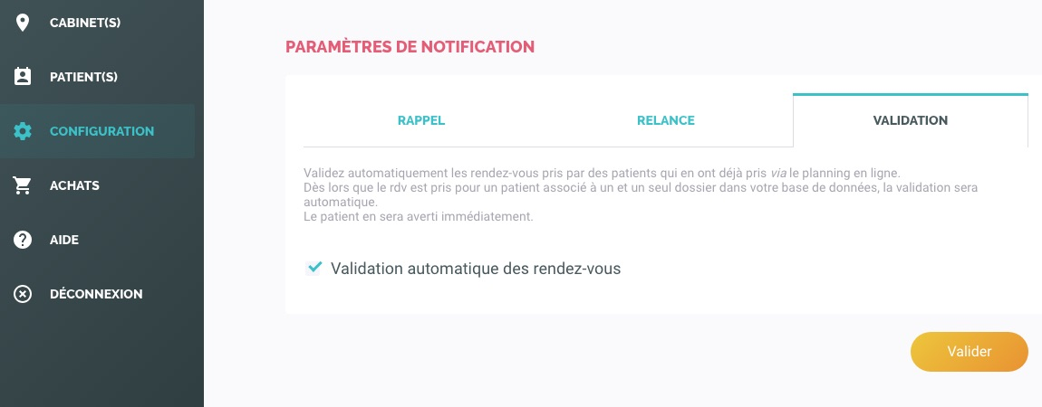 Configuration de la validation automatique