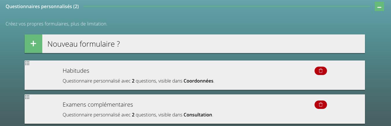 Questionnaires personnalisés